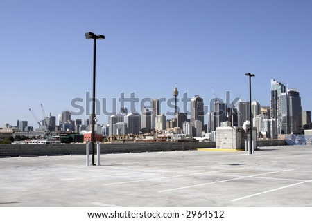 Urban Carpark, Sydney City Skyline On A Summer Day, Cityscape, Australia