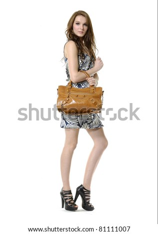 Urban casual young fashion female holding bag