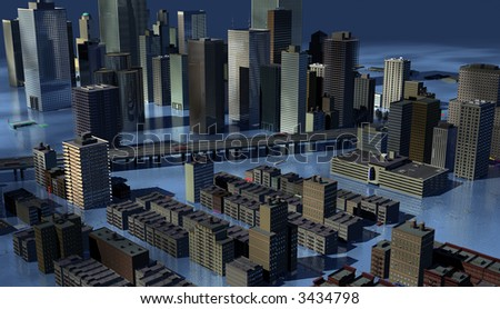 Urban Centre submerged with rising sea levels - stock photo