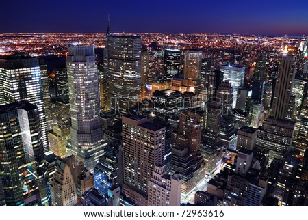 Urban city architecture. New York City Manhattan skyline aerial view with Empire State Building and Times Square at sunset. - stock photo