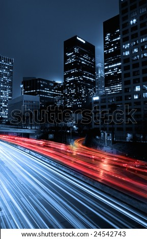 Urban City at Night With Traffic and Night Skyline, Los Angeles - stock photo