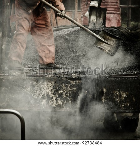 urban city building asphalt worker