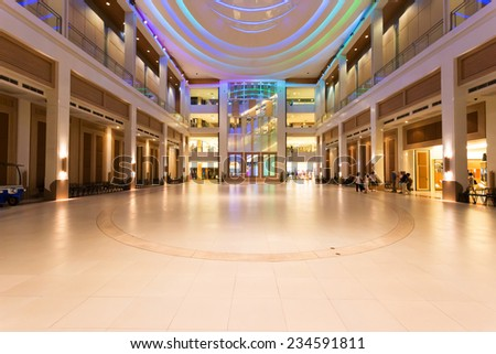 urban city modern office building hall interior - stock photo