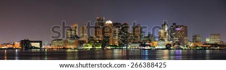 Urban city night scene panorama from Boston Massachusetts. - stock photo