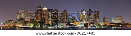 Urban city night scene panorama from Boston Massachusetts. - stock photo
