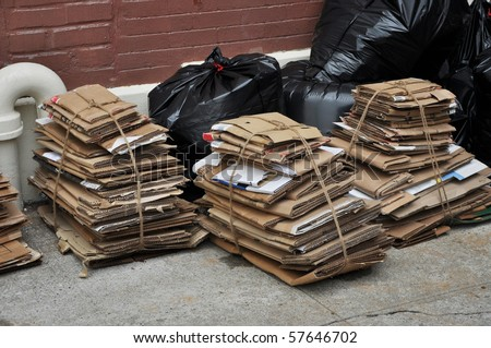 Urban City Recycle Trash Day - stock photo