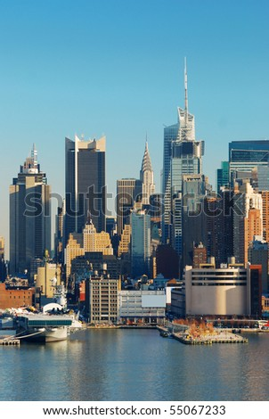 Urban City Skyline. New York City over Hudson river with skyscrapers. - stock photo