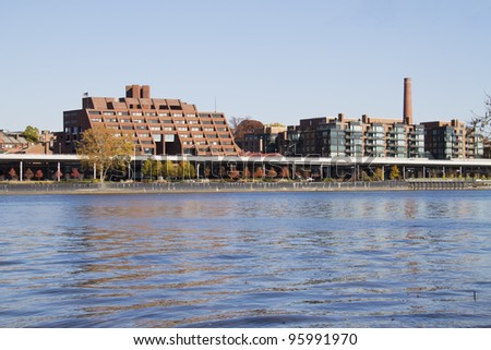 Urban cityscape, over Potomac river Washington DC, in Georgetown - stock photo