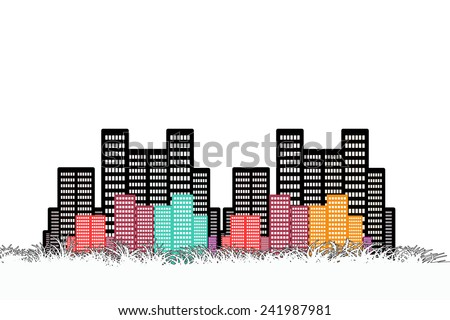 urban cityscape with colourful building - stock photo