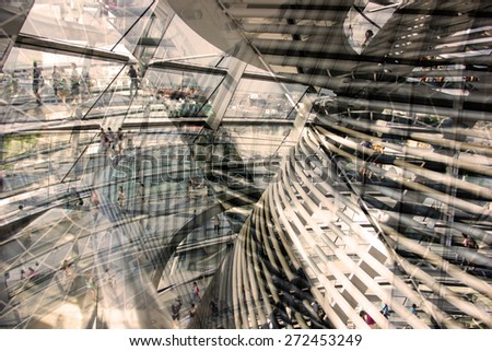 Urban conceptual sepia grey monochrome blurred pattern with construction and glass. Collage, Double Exposure effect - stock photo