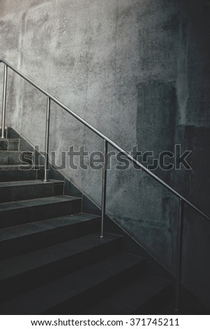 Urban concrete staircase, abstract modern architecture detail - stock photo