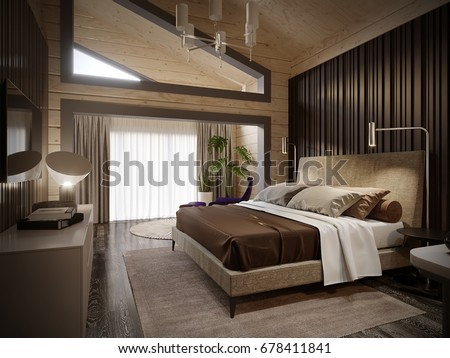 Urban Contemporary Modern Classic Traditional Hotel Bedroom Interior Design  In Wooden House With Blockhouse Walls,