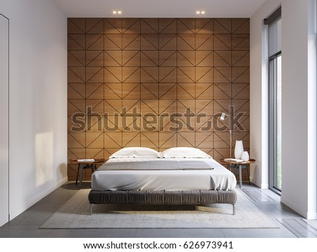 Urban Contemporary Modern Minimalism High Tech Bedroom Interior Design With  Modern Bed And Wooden Paneling