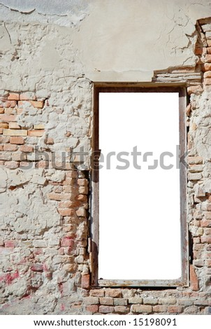 urban decay white isolated window frame template with copy space - ideal for image insertion - stock photo