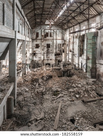 Urban exploration. Old ruined factory apartment