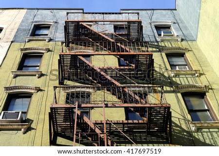 urban exterior with fire escape - stock photo