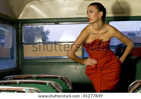 Urban fashion bus - stock photo