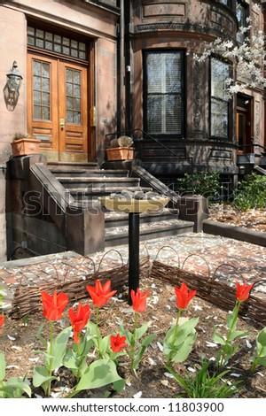 Urban garden in elegant Back Bay, Boston - stock photo