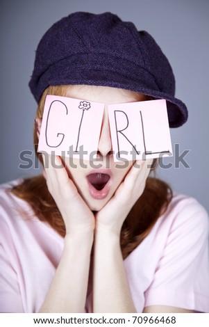 "Urban girl with ""GIRL"" word on eyes. - stock photo"