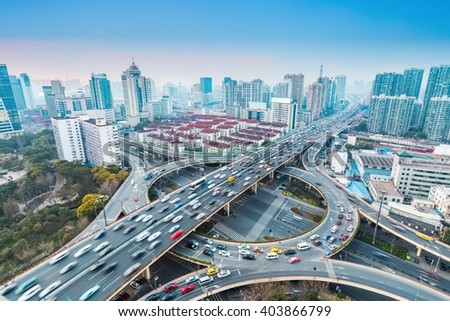 urban grade separation bridge at dusk , shanghai ,China - stock photo