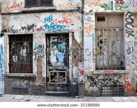Urban graffiti in an alley in Amsterdam - stock photo