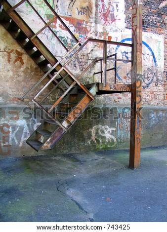 Urban graffiti stairs - stock photo