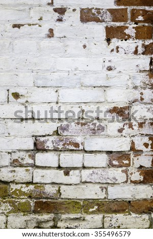 Urban grunge: Detail of whitewashed exterior brick wall, for texture and background (first in a series of eleven) - stock photo