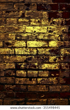 Urban grunge: Detail of whitewashed exterior brick wall, with filtered effects, for texture and background (third in a series of eleven) - stock photo
