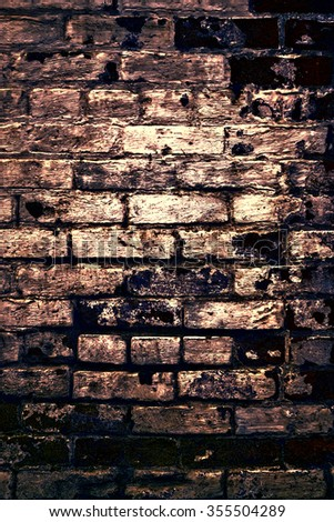 Urban grunge: Detail of whitewashed exterior brick wall, with filtered effects, for texture and background (eighth in a series of eleven) - stock photo