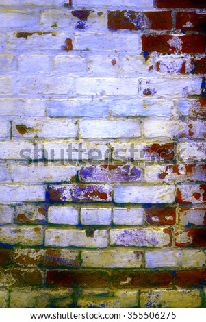 Urban grunge: Detail of whitewashed exterior brick wall, with filtered effects, for texture and background (tenth in a series of eleven) - stock photo