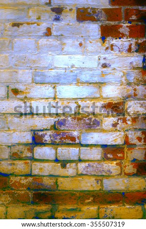 Urban grunge: Detail of whitewashed exterior brick wall, with filtered effects, for texture and background (eleventh in a series of eleven) - stock photo
