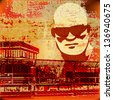 Urban Grunge image, illustration with serious sunglasses over a textured background - stock photo