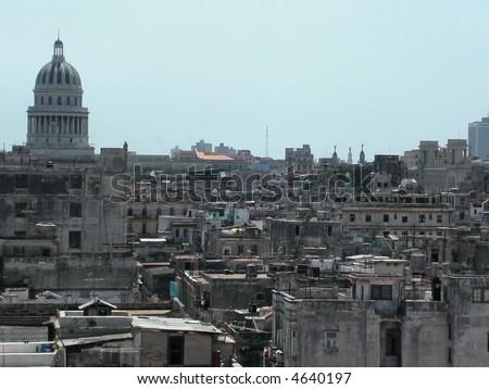 Urban jungle.   Havana.  Cuba. - stock photo