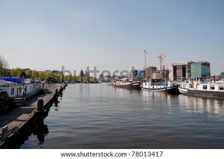 Urban landscape in Amsterdam, the Netherlands . - stock photo