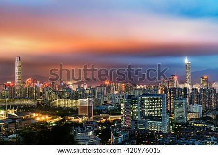Urban landscape in night of shenzhen,china - stock photo