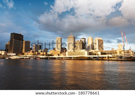 Urban landscape of modern buildings and street by Brisbane River