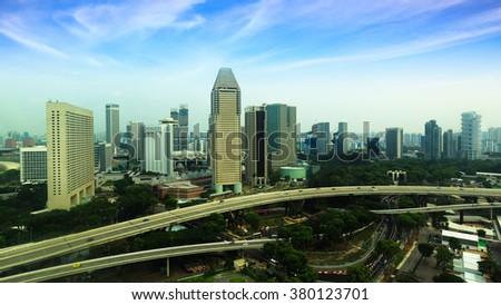 Urban landscape of Singapore. Skyline and modern skyscrapers of business