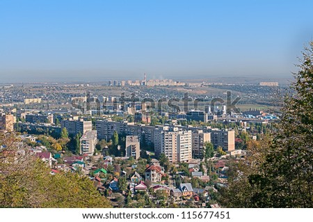 Urban landscape. View of a typical town in central Russia.Saratov. - stock photo