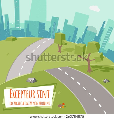 Urban landscape with road and low poly trees on green grass. Outdoor and town, city and park