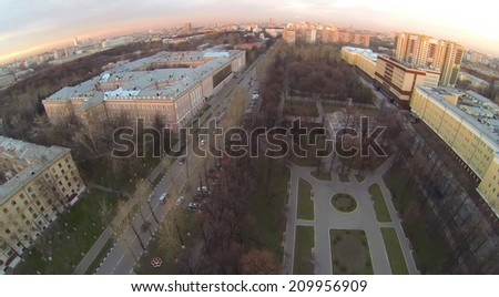 Urban landscape with the Catherine Palace and park in autumn at sunset, aerial view - stock photo