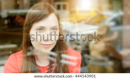 urban lifestyle portrait of young beautiful caucasian women. attractive female person background - stock photo