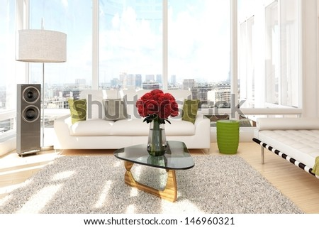 Urban loft with roses and sofa with view of a city - stock photo