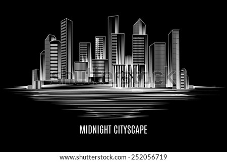 Urban midnight cityscape. Night city, buildings and skyscrapers - stock photo