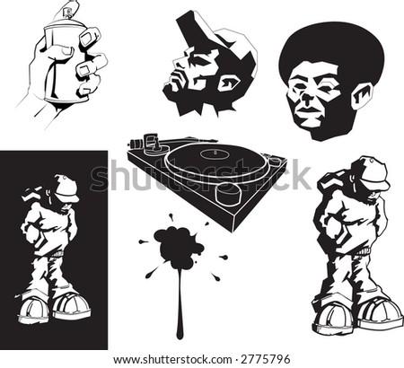 urban motifs/ stencils. Raster version - stock photo