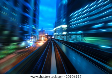 Urban night traffics view in dusk. Focus on the road. - stock photo