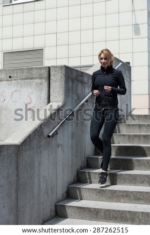 Urban people have to training in the city center  - stock photo