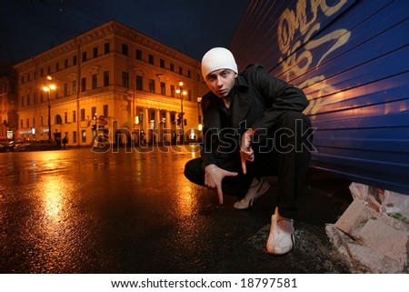 Urban portrait of a young man - stock photo