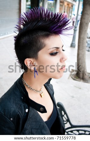urban punk girl - stock photo
