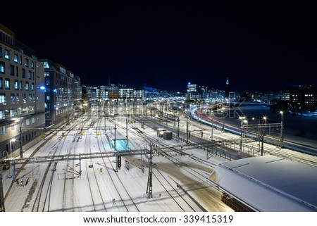 Urban railway station at night. (Stockholm, Sweden)