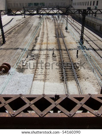 Urban railway tracks - stock photo